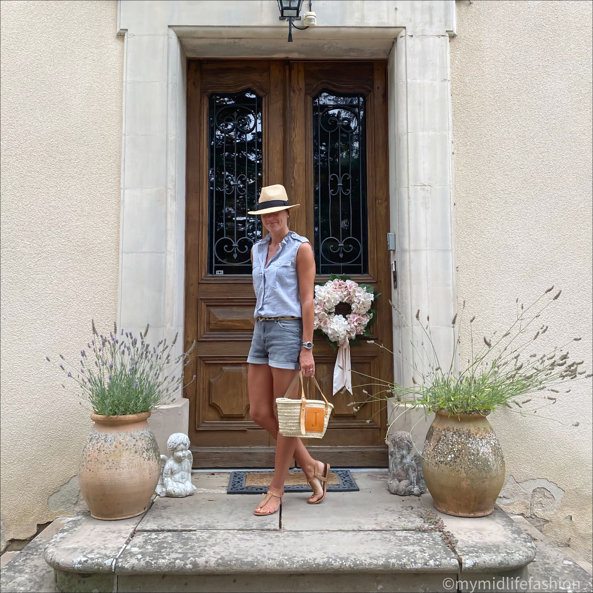 my midlife fashion, h and m Panama hat, Isabel Marant etoile cotton frill blouse, leopard print belt, h and m denim shorts, Carvela leather thongs