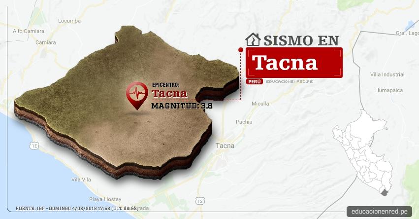 Temblor en Tacna de magnitud 3.8 (Hoy Domingo 4 Febrero 2018) Sismo EPICENTRO Tacna - IGP - www.igp.gob.pe