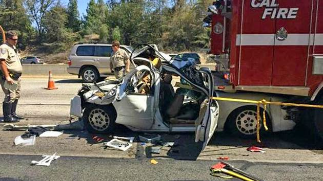 cal firetrucks fresno county highway 41 car crash engines shaw avenue