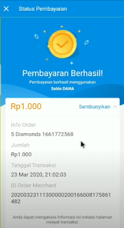 Cara TOP UP Diamond Free Fire Lewat DANA