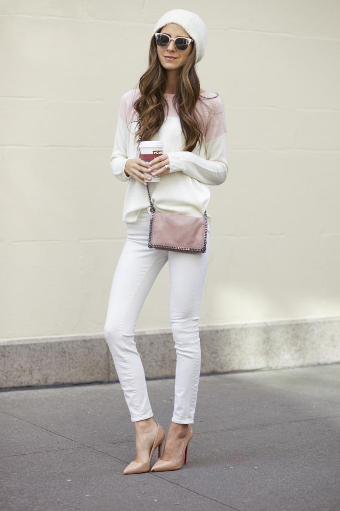 Something Navy - White Jeans, Pink Chain Bag, Louboutin Nude Pumps
