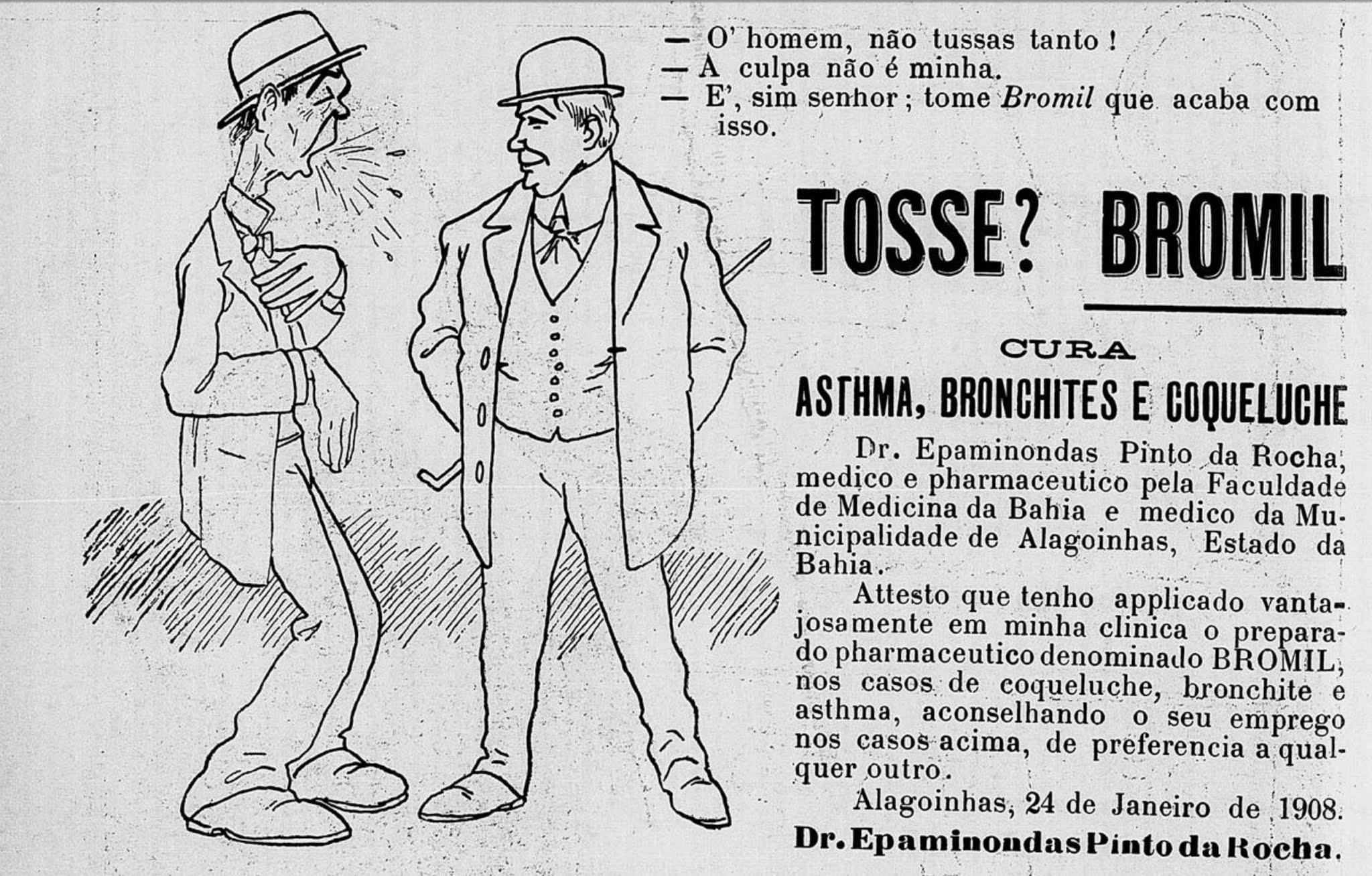 Anúncio de 1910 promovia o Xarope Bromil para acabar com os males respiratórios
