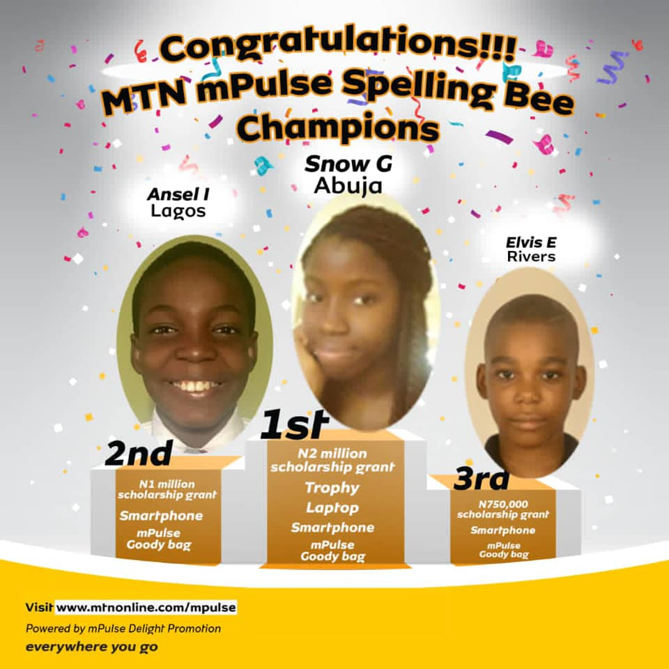 MTN mPulse Spelling Bee Competition Winners 2020 [PHOTOS]