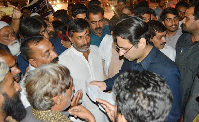 Moonis Elahi visited the protest camp of the employees of Gujrat Municipal Corporation.