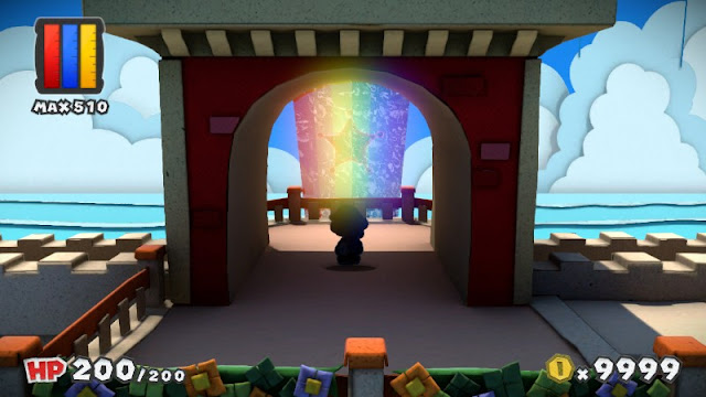 Paper Mario Color Splash Port Prisma fountain rainbow road upper story view alternate