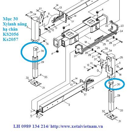 xy lanh nâng và hạ chân sau xe tải cẩu Kanglim 7 tấn KS2056-KS2057