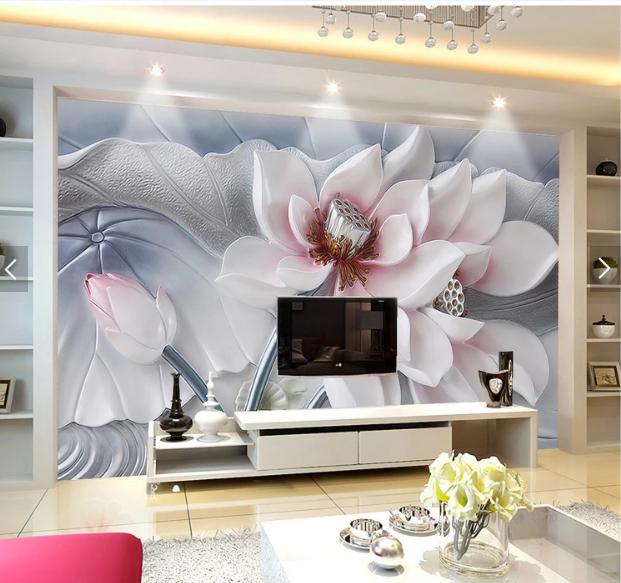 Tranh dán tường hoa sen 3d phòng ngủ đẹp