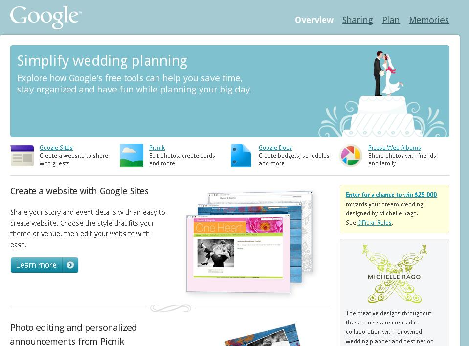 I Dont Know If You Can Read It In The Photo But They Have Google Sites For Your Wedding Website A Plethora Of Different Template Styles To