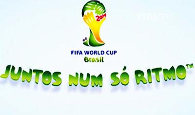 A imagem mostra o slogan da copa do mundo de 2014. Juntos num só ritmo.