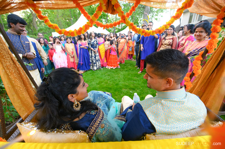 South Asian Indian Wedding Photography Outdoor Swing Decoration Michigan by SudeepStudio.com Ann Arbor Indian Wedding Photographer