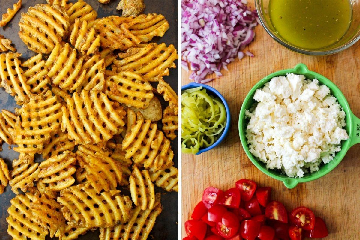 Collage of Greek Waffle Fry ingredients.