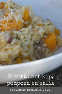 Recept voor heerlijk romige risotto met kip, pompoen en salie