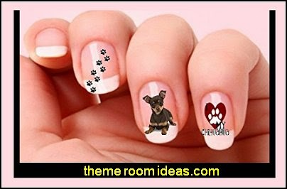 40 Chihuahua Dog Paw Print Nail Art Decals-animal themed nails
