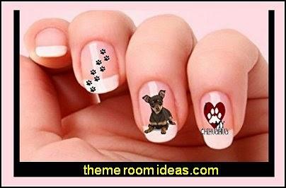 40 Chihuahua Dog Paw Print Nail Art Decals-animal themed nails