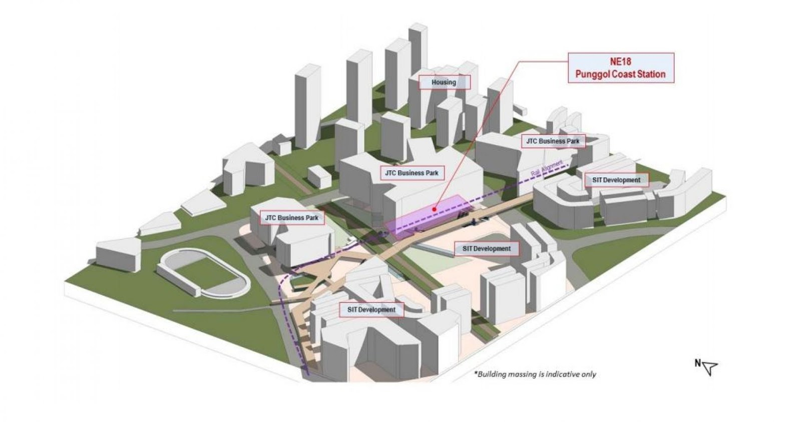 Artist impression of the Punggol Digital District and Punggol Coast Station