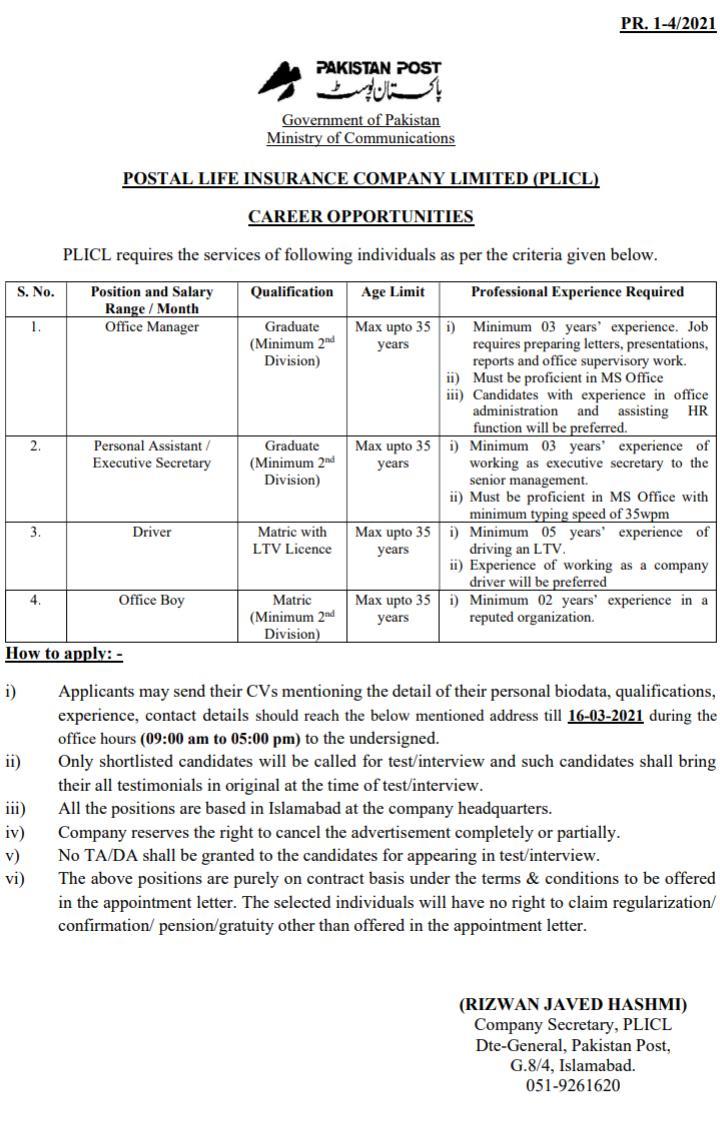 .Latest Pakistan Post Office GPO Jobs 2021