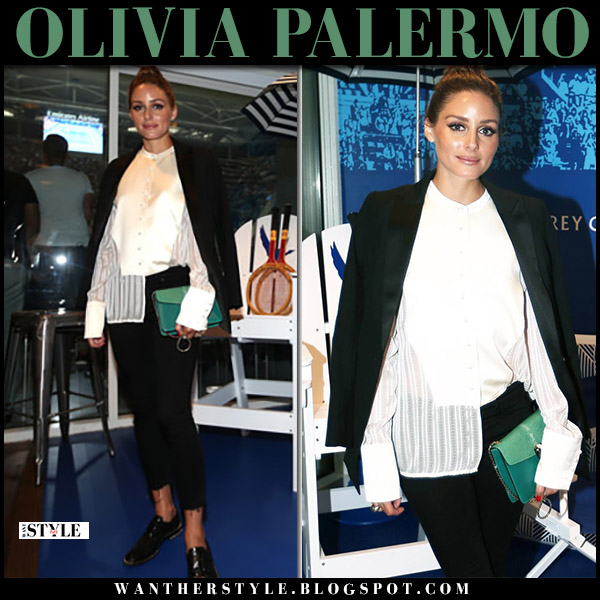 Olivia Palermo in black blazer, black skinny jeans with green bag bulgari fashion september 3