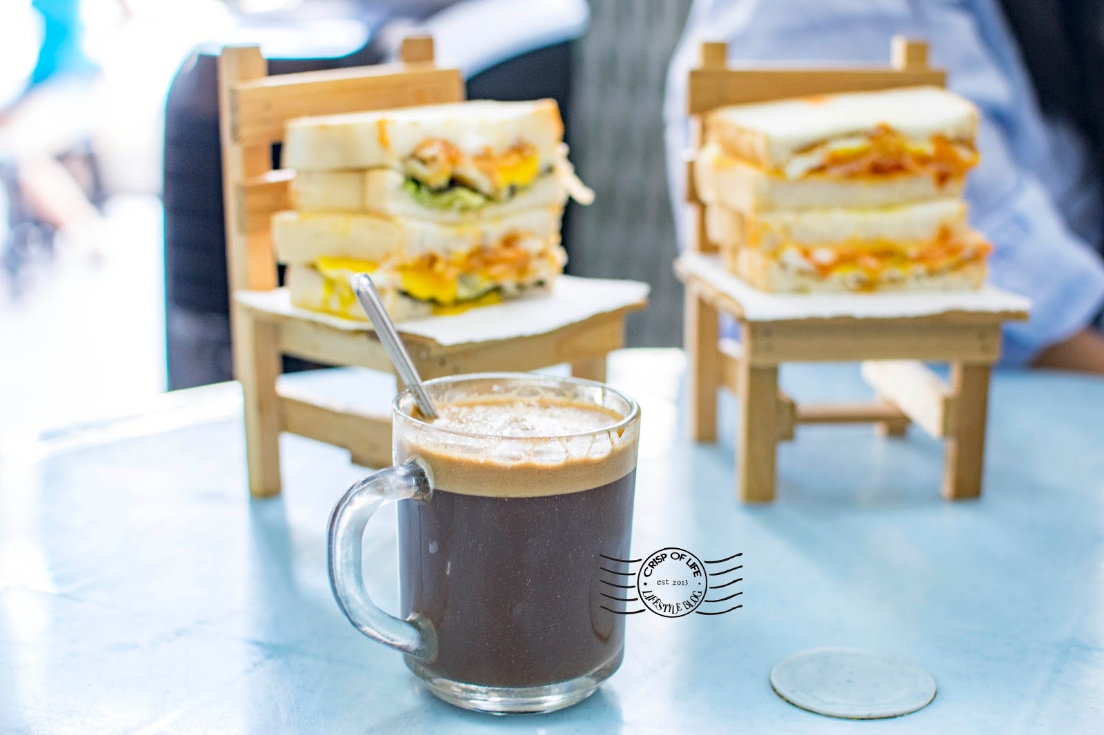 Breakfast with toast and coffee in Penang Loaf U Penang