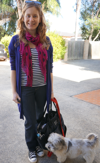 pattern colour mix blue purple stripes and skull print scarf jeans and converse