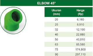 Harga Elbow 45° Pipa Ppr Rucika Kelen Green