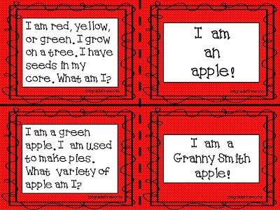 Task Cards.What Am I? September assessment game.