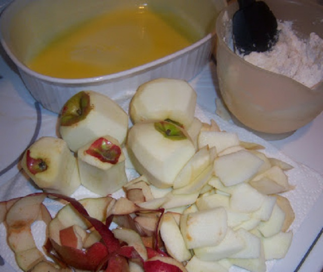 this is a photo of peeled and cored apples mcintosh