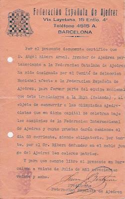 Notificación de la FEDA en 1928