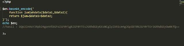 contoh enkripsi pada script menggunakan base64