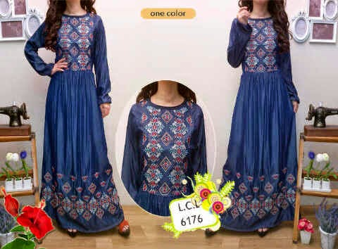 bahan denim bordir etnik,blkg karet,tgn pjg karet,fit L-XL