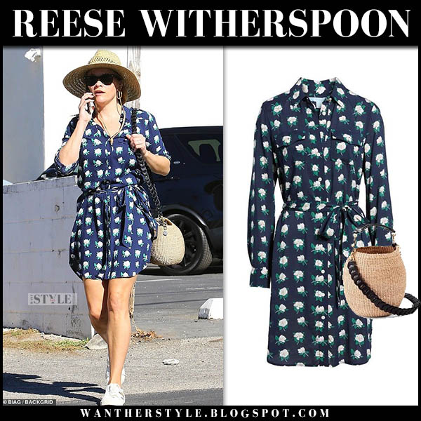 Reese Witherpsoon in navy floral mini draper james dress with straw bucket bag clare v celebrity street style october 20