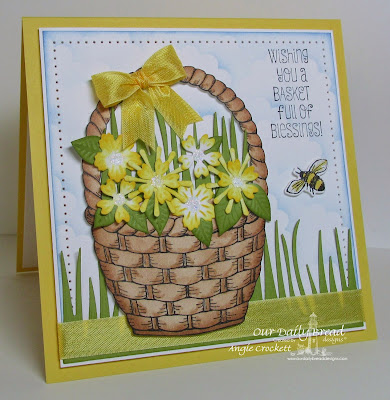 ODBD Basket of Blessings, ODBD Butterfly and Bugs, ODBD Custom Butterfly and Bugs Dies, ODBD Custom Birds and Nest Dies, ODBD Custom Grass Border Die, Card Designer Angie Crockett
