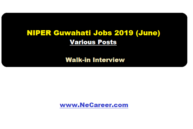 NIPER Guwahati Recruitment 2019 (June)