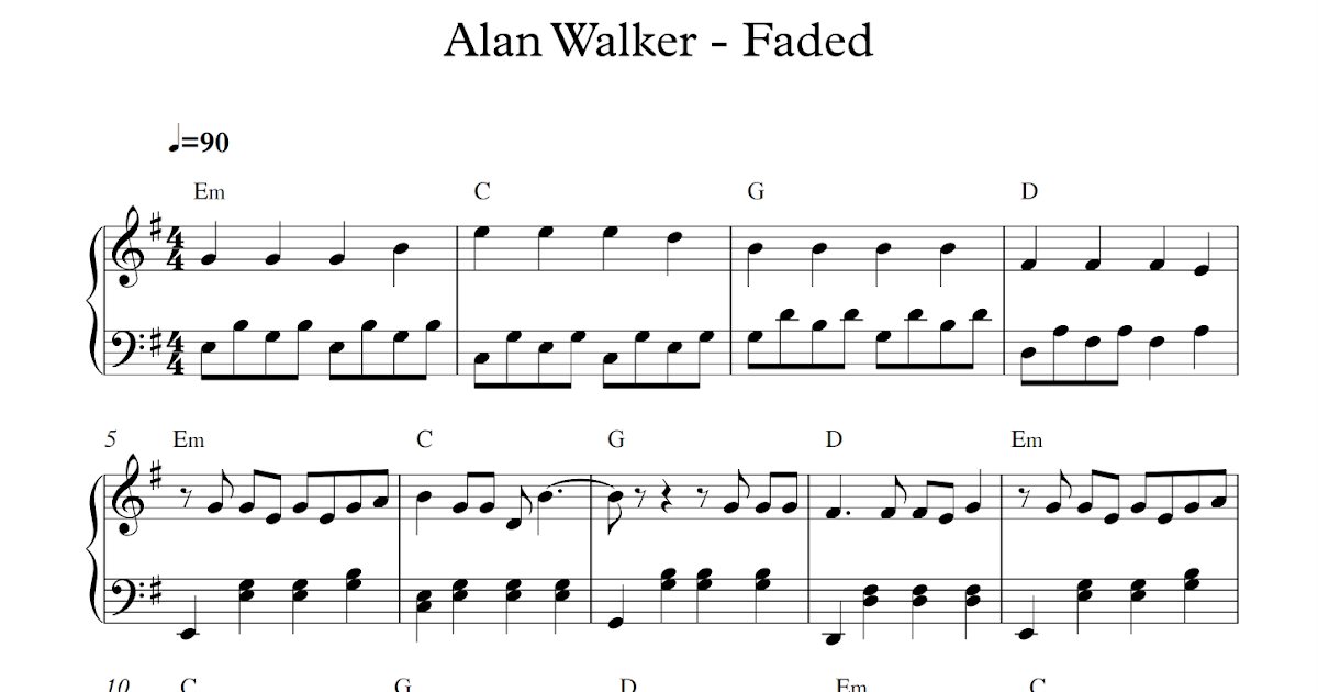 image regarding Lost Boy Piano Sheet Music Free Printable identify participate in distinguished new music: Pale - Alan Walker