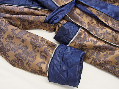 man long silk robe paisley gold dark blue quilted satin piped lined dressing gown housecoat tailored mens lounge wear