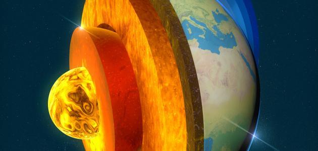طبقات الأرض يتوسطها اللب المعدني الصلب