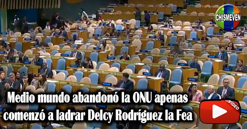 Medio mundo abandonó la ONU apenas comenzó a ladrar Delcy Rodríguez la Fea