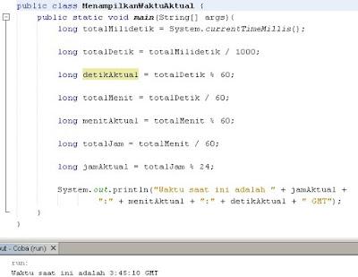 Menampilkan Waktu Aktual Dengan Java