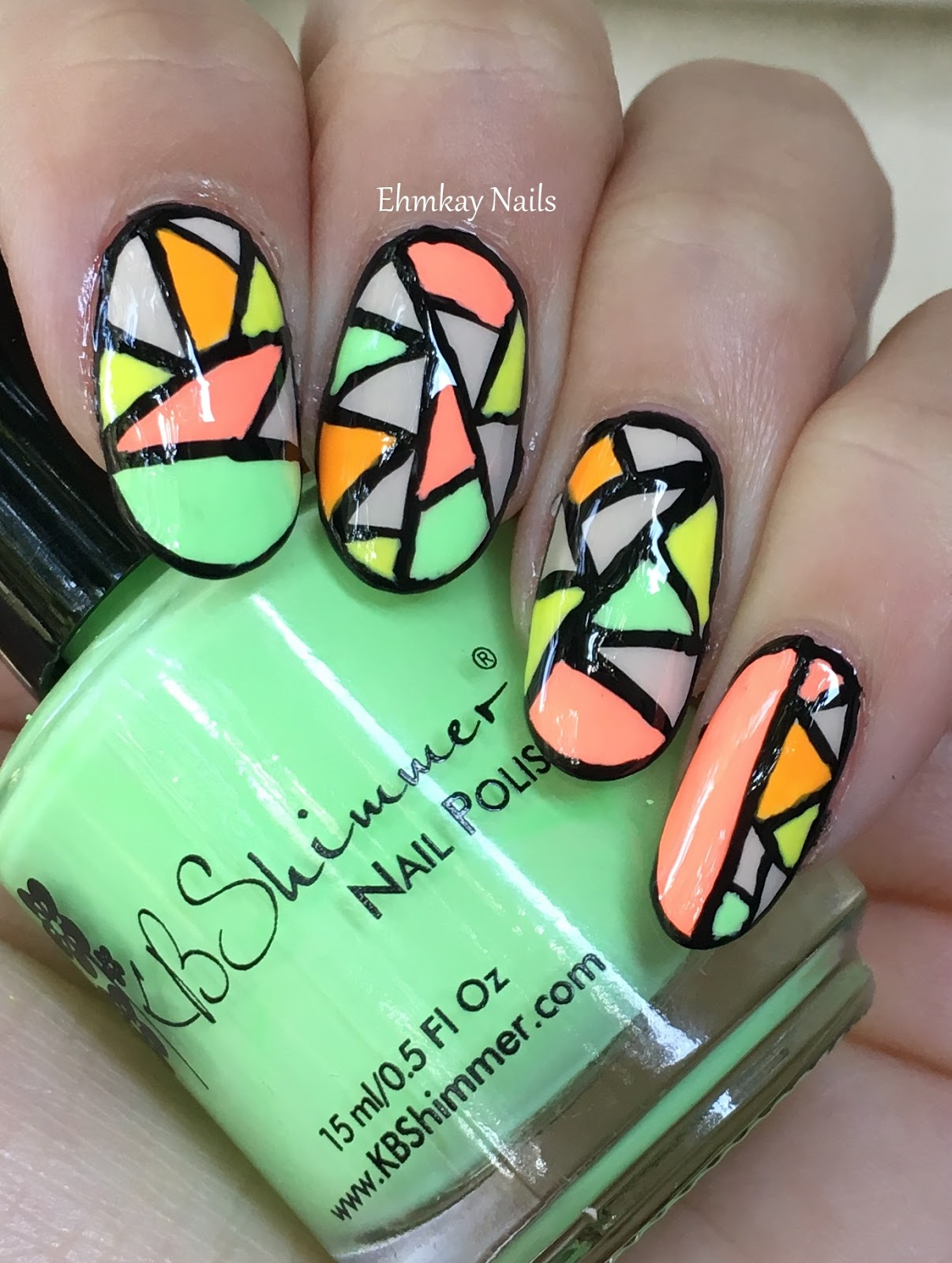Ehmkay Nails Rainbow Neon Stripe Nail Art: Ehmkay Nails: Neon Stained Glass Nail Art Featuring KB Shimmer