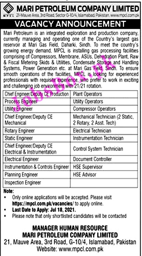 Latest Jobs in Mari Petroleum Company Limited MPCL 2021