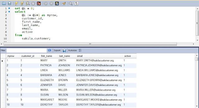 MySQL row number function equivalent