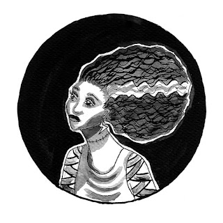 Bride of Frankenstein ink drawing