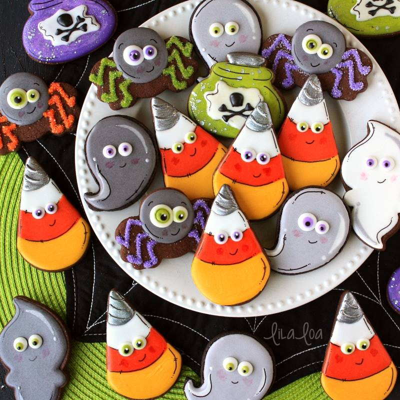 brightly colored decorated Halloween sugar cookies