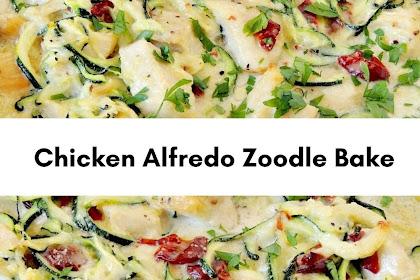 Chicken Alfredo Zoodle Bake