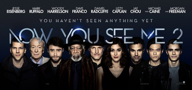 Now You See Me 2, movie review, byrawlins, Jesse Eisenberg, Mark Ruffalo, Woody Harrelson, Dave Franco, Daniel Radcliffe, Jay Chou, Four Horsemen