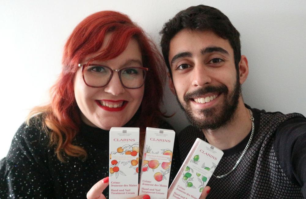 clarins+scented hand cream+kit para o inverno + creme para as mãos e unhas + blogue de casal português ´+ Pedro e Telma + Ela e Ele + Ele e ela.