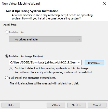 Select OS on VMware Workstation