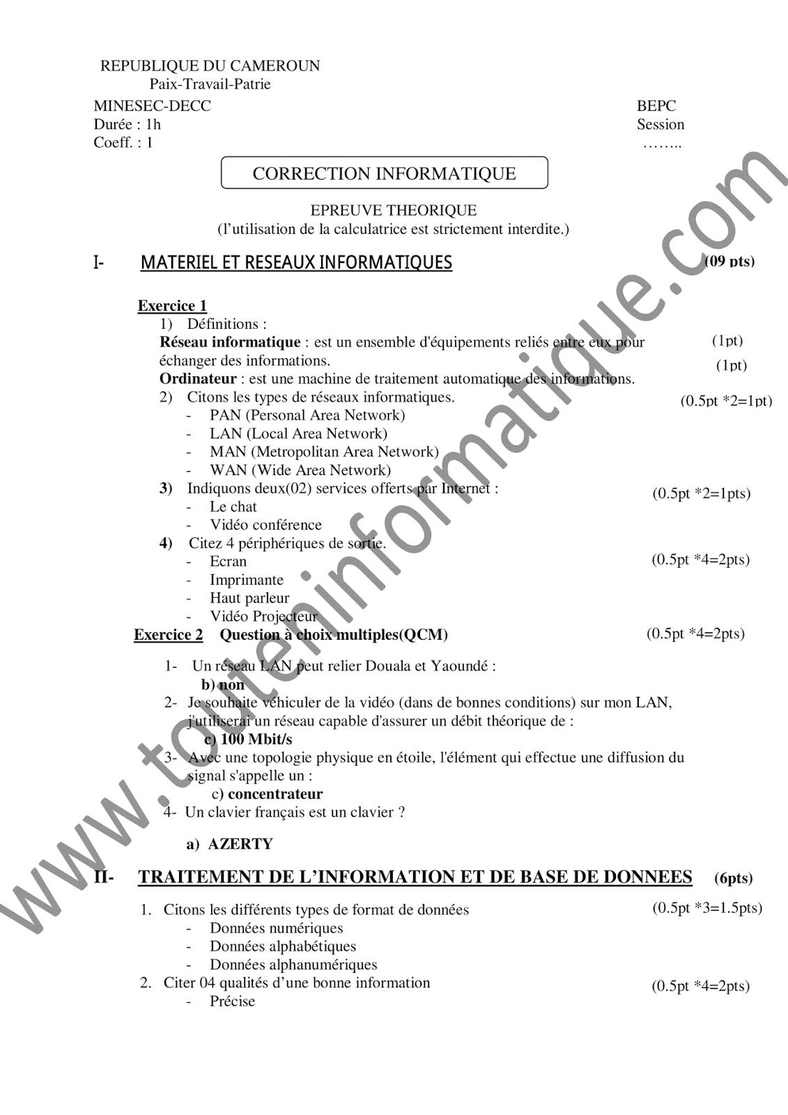 BEPC TÉLÉCHARGER PDF SUJET