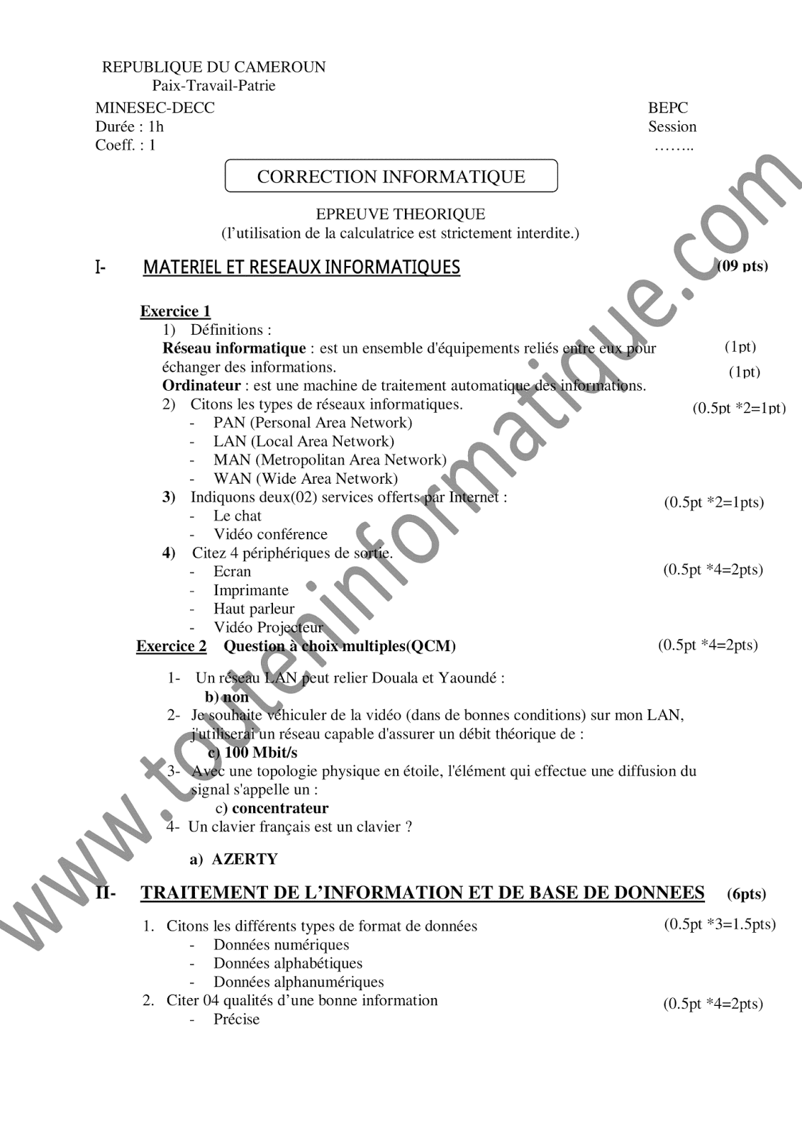 PDF BEPC TÉLÉCHARGER SUJET