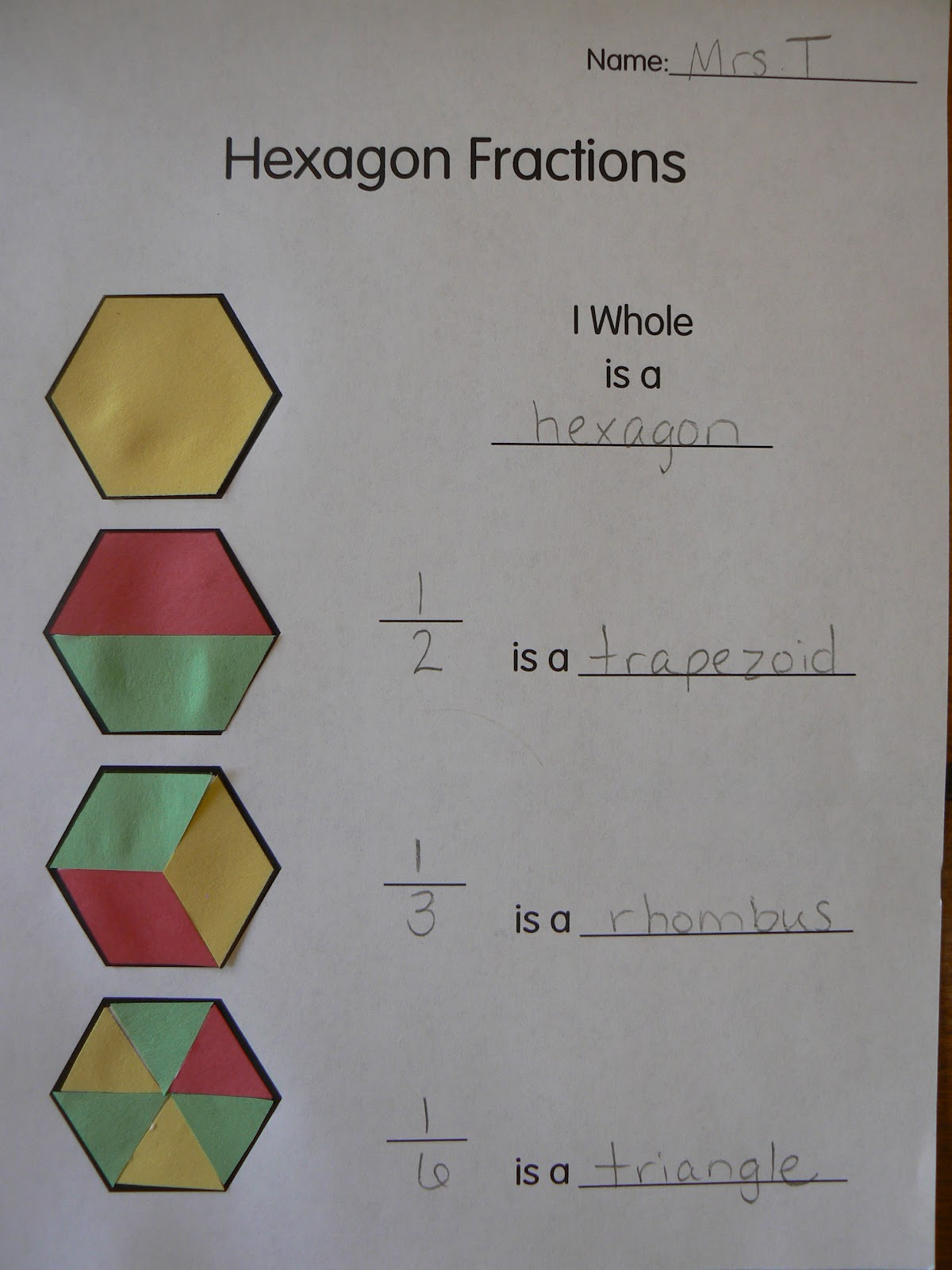 Mrs T S First Grade Class Hexagon Fractions