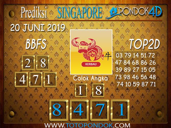 Prediksi Togel SINGAPORE PONDOK4D 20 JUNI 2019